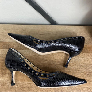 Jimmy Choo Snakeskin Leather Eyelet Pump