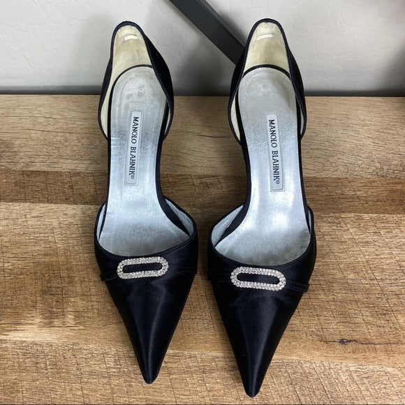 Manolo Blahnik Satin Crystal Pointed Toe Heels