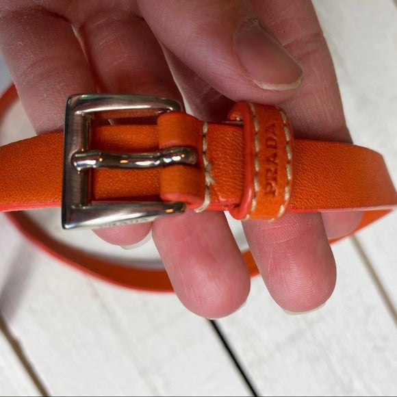 Prada Circle Link Thin Leather Belt