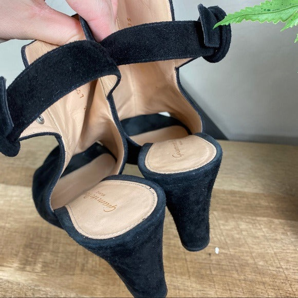 Gianvito Rossi Suede Peep Toe Black Wedges Bootie