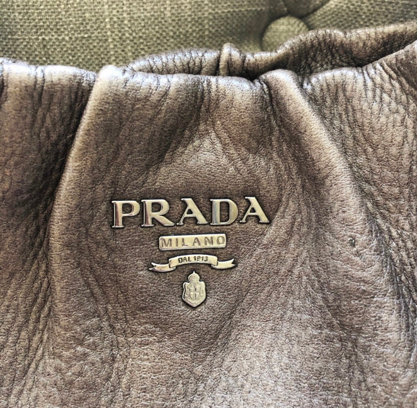 Prada Calfskin Leather Hobo Shoulder Bag