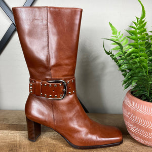 Antonio Melani Studded Buckle Heeled Boots