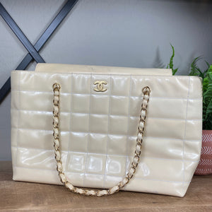 Chanel Chocolate Bar Patent Leather Tote