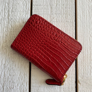 Ralph Lauren Zip Around Embossed Leather Wallet