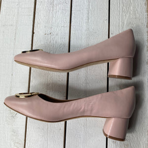 Tory Burch Caterina Blush Leather Block Heel