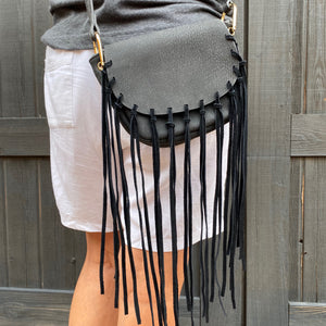 Free People St. Germain Black Fringe Crossbody Bag