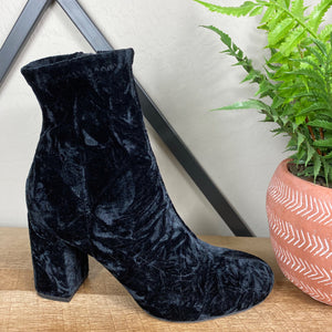 MIA Crushed Velvet Ankle Heeled Boots