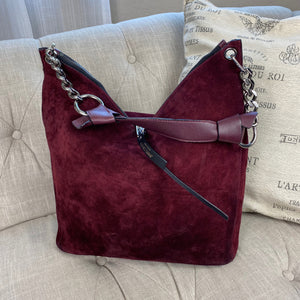 Jimmy Choo Suede Raven Bordeaux Hobo Bag