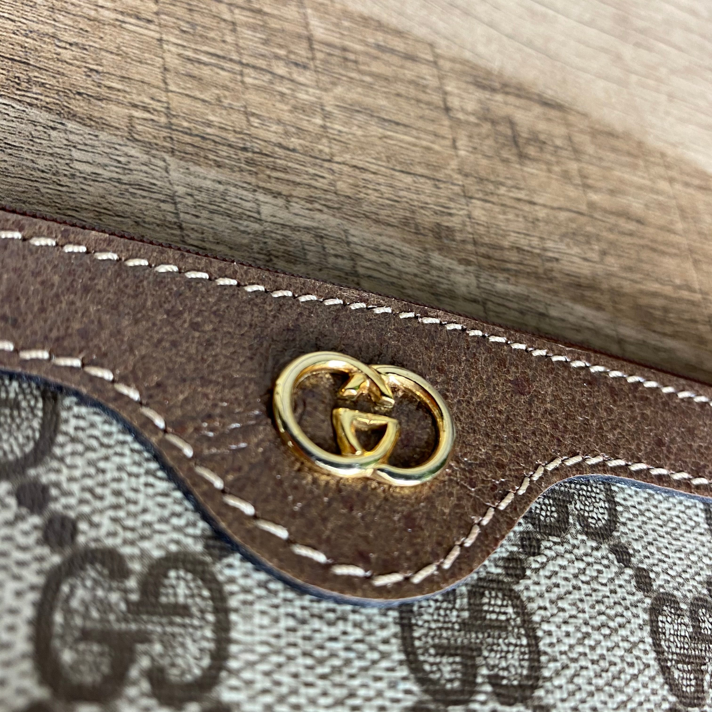 Gucci 1970s Vintage Monogram Cosmetic Pouch