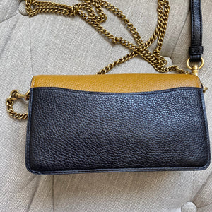 Coach Tabby Leather Tri Color Chain Crossbody Wristlet