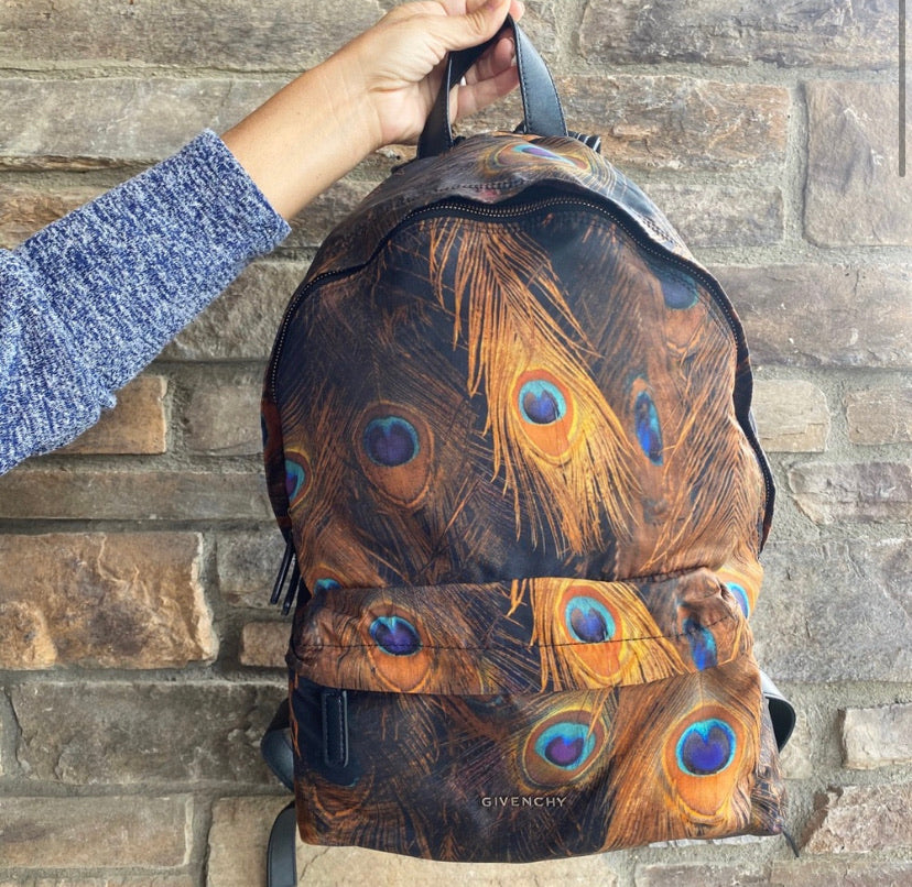 Givenchy Nylon & Leather Peacock Feather Print Backpack