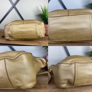 Ralph Lauren Gold Metallic Leather Satchel