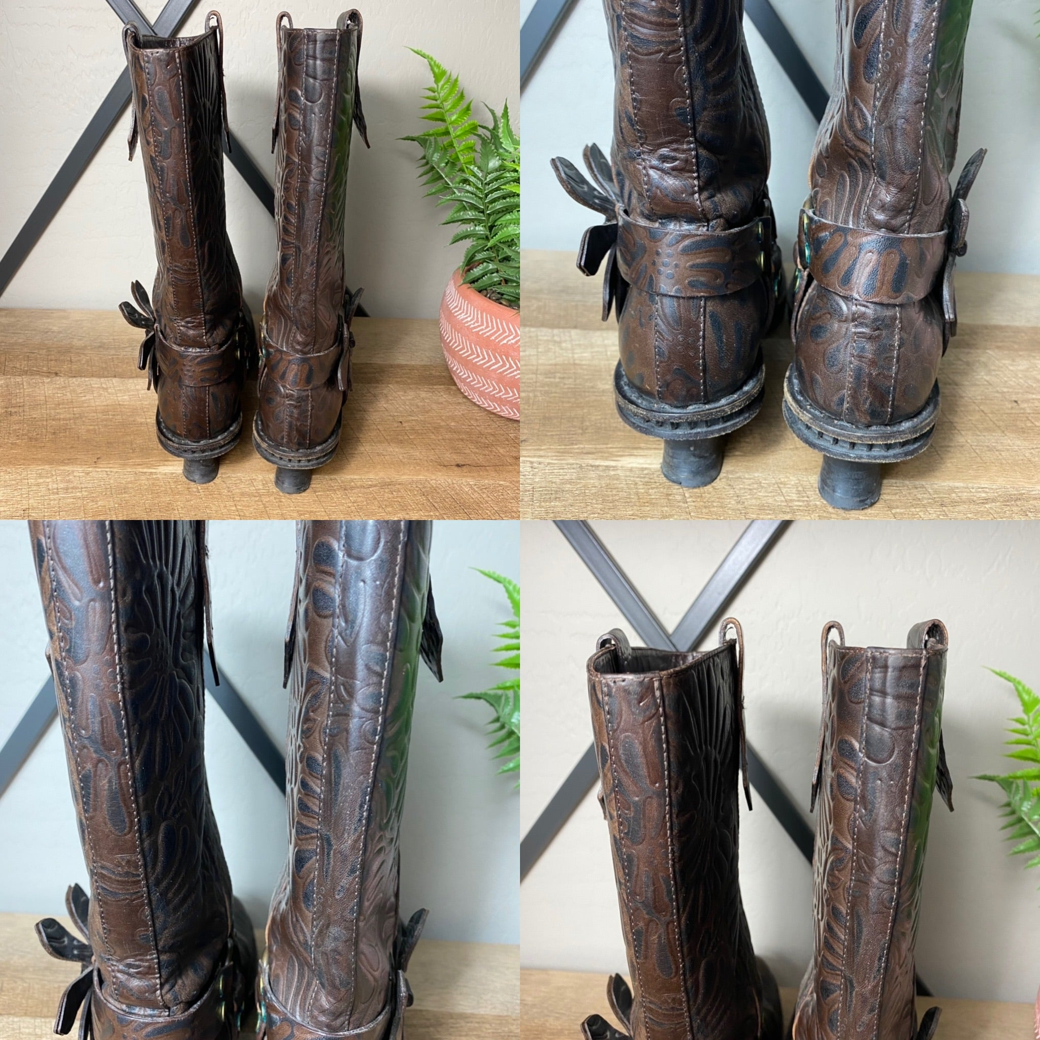 Fendi Vintage Cowboy Western Tooled Leather Boot