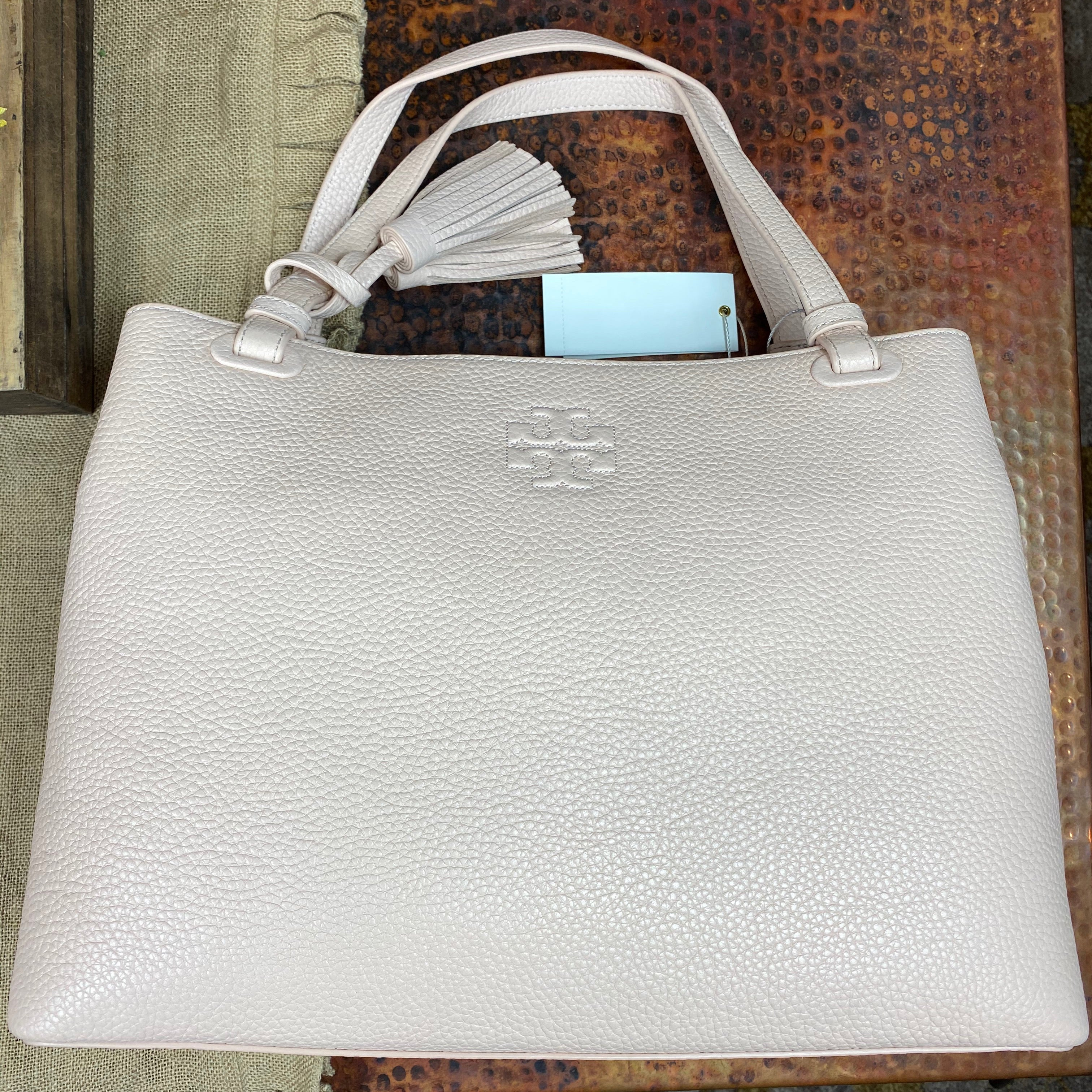 Tory Burch Thea Center Zip Leather Tote