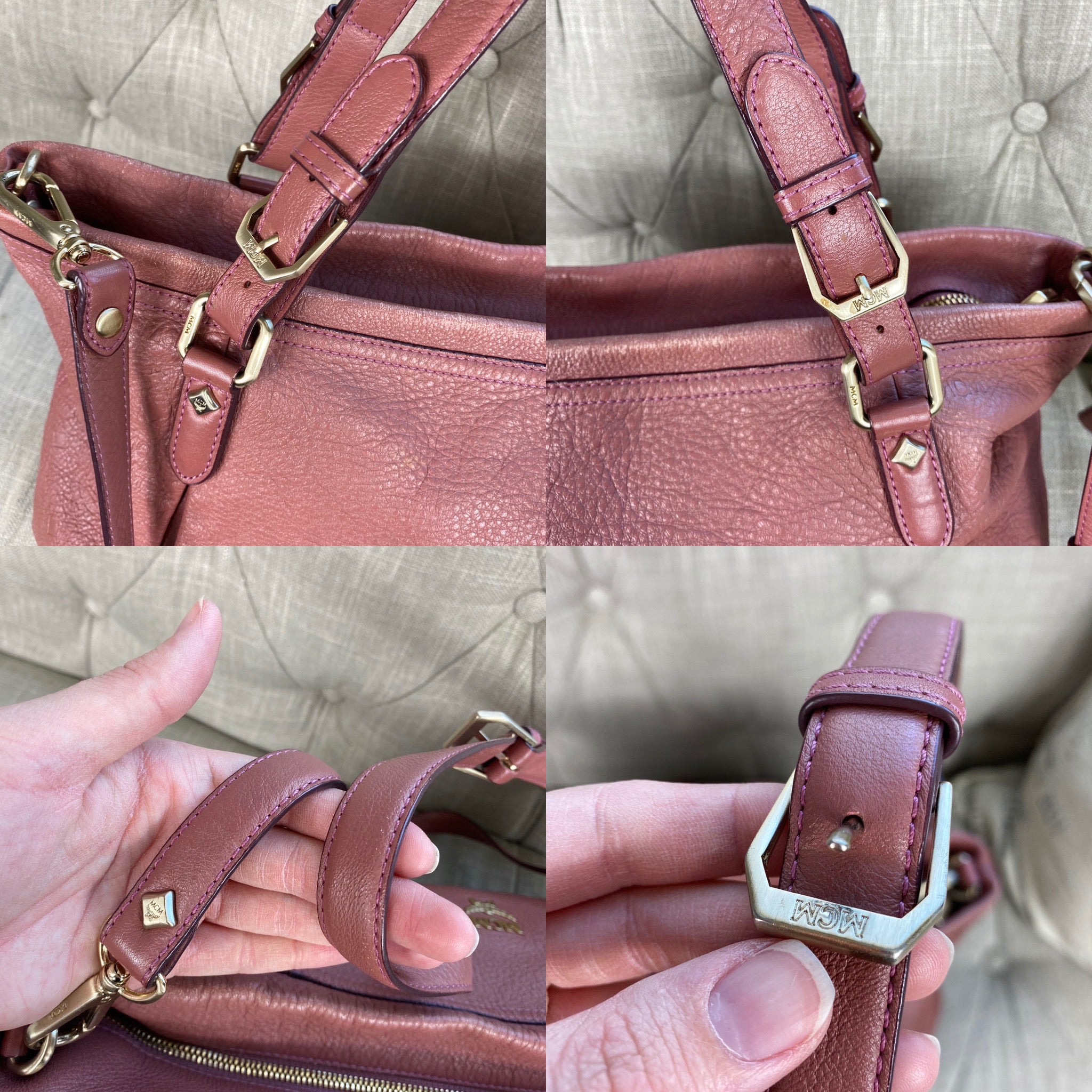 MCM Embossed Leather 2 Way Large Crossbody