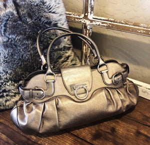 Salvatore Ferragamo Metallic Marisa Baguette Bag
