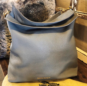 Burberry Pebbled Leather Cale Hobo Shoulder Bag