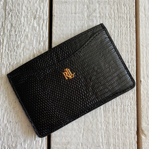 Ralph Lauren Embossed Leather Card Holder ID Wallet