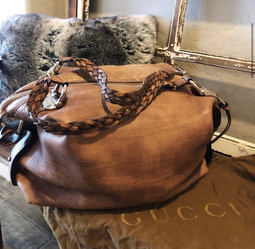 Gucci XL Braided Leather Bamboo Bar Tote
