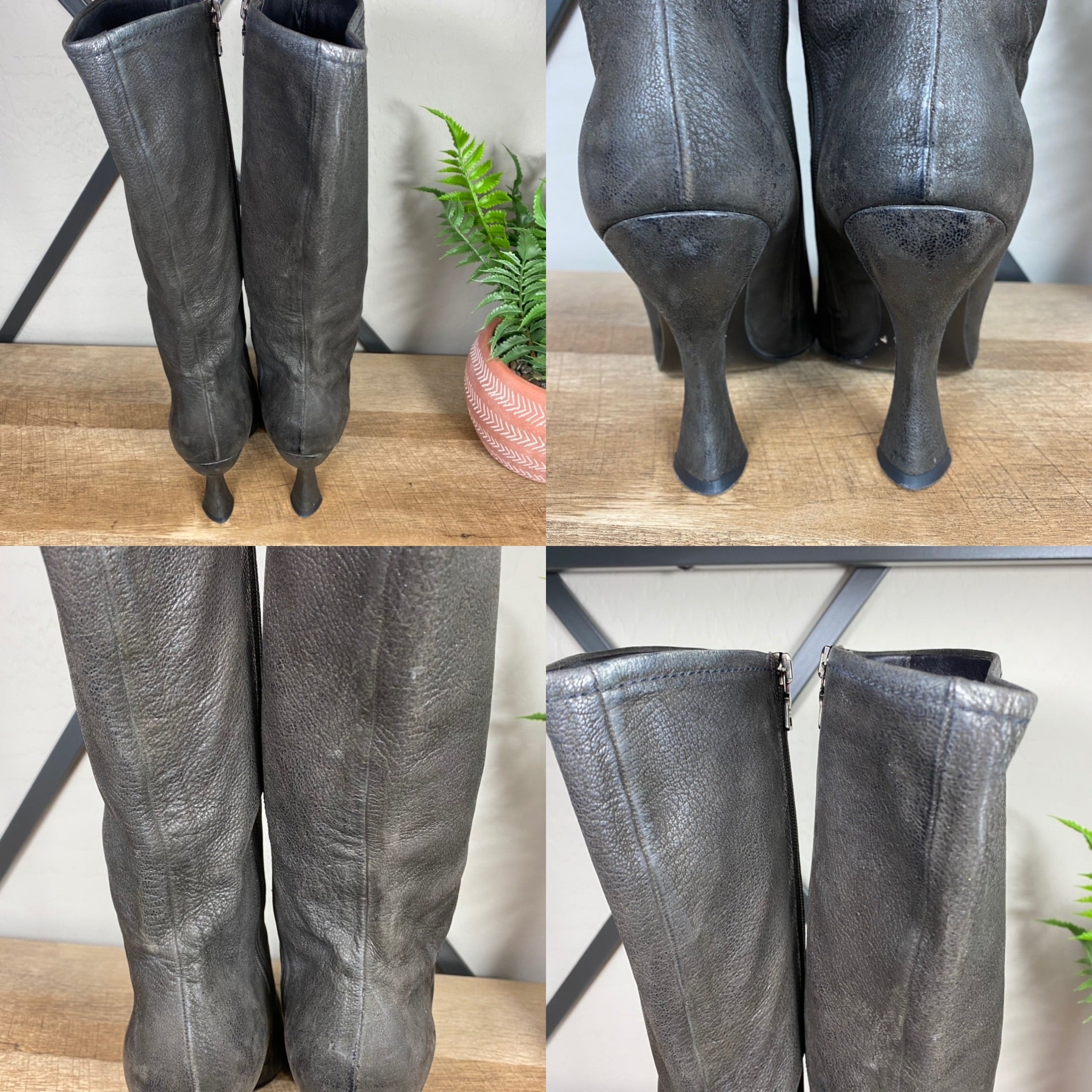 Prada Tall Leather Heeled Vintage Zipper Boots