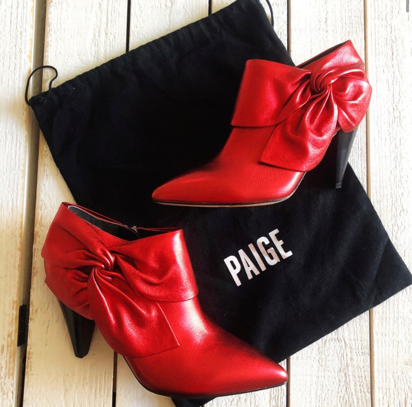 Paige Red Shimmer Bow Catrine Ankle Boots