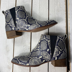 Madewell Carina Snake Embossed Leather Ankle Boots