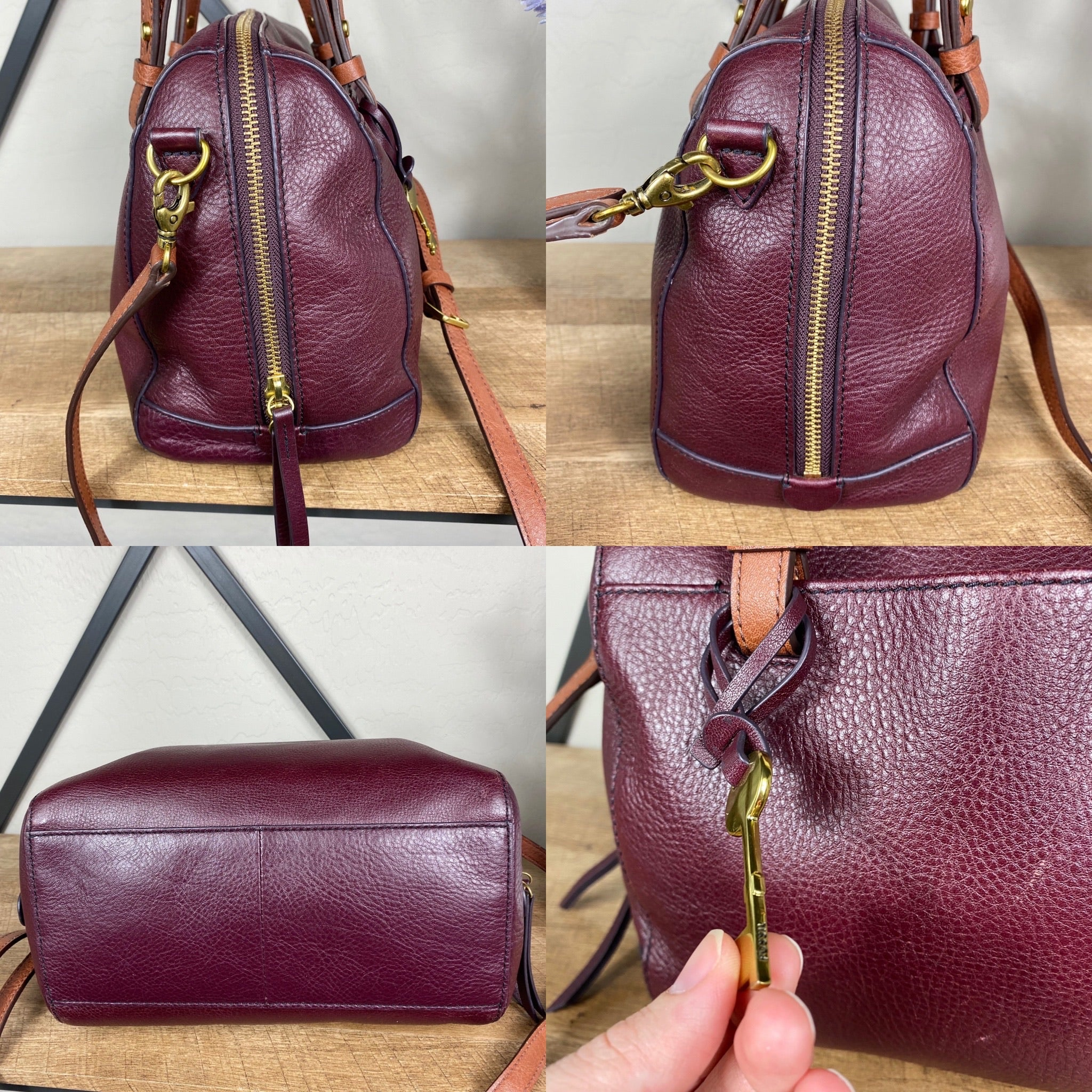 Fossil Rachel Leather Satchel Crossbody Bag