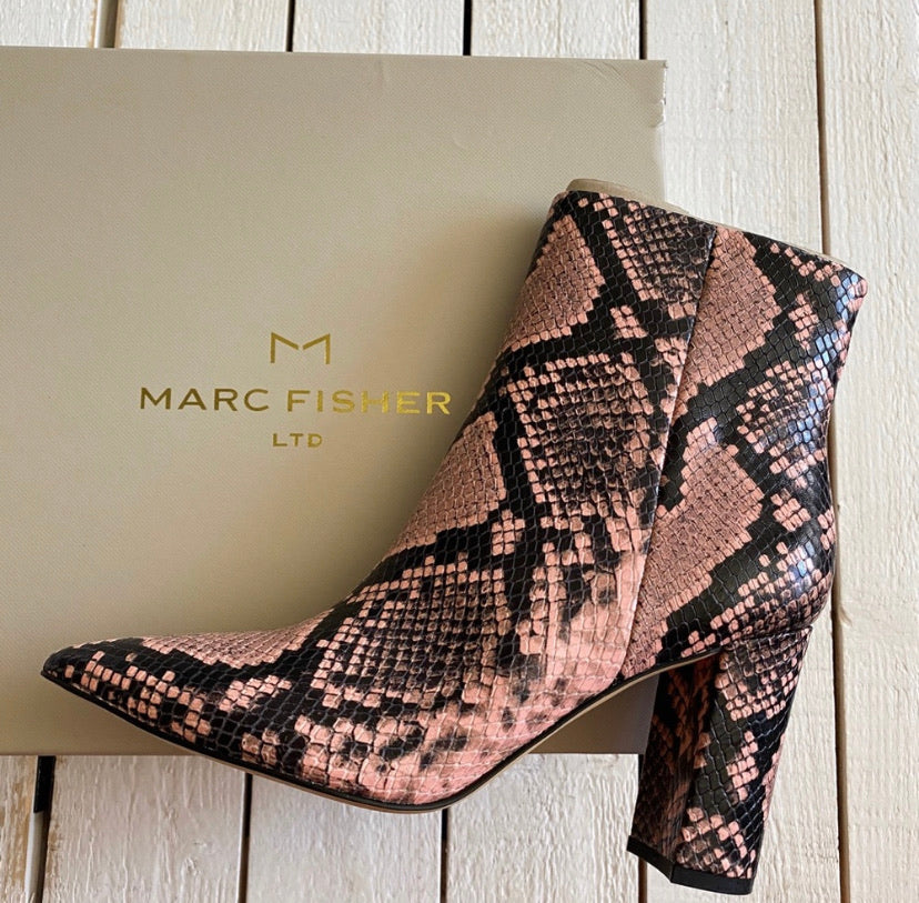 Marc Fisher LTD Ulani Snake Print Leather Ankle Boot