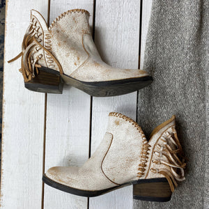 Circle G Distressed Leather Fringe Ankle Boot