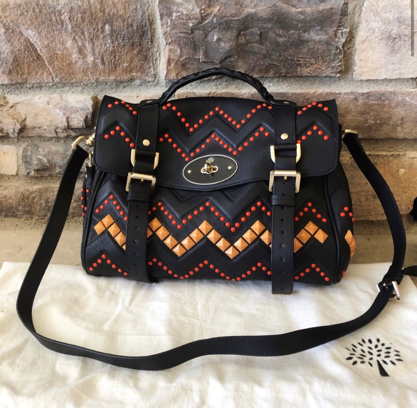 Mulberry Zig Zag Alexa Studded Embroidered Bag