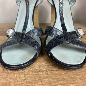 Gucci Ostrich Claw Jeweled T-Strap Sandals