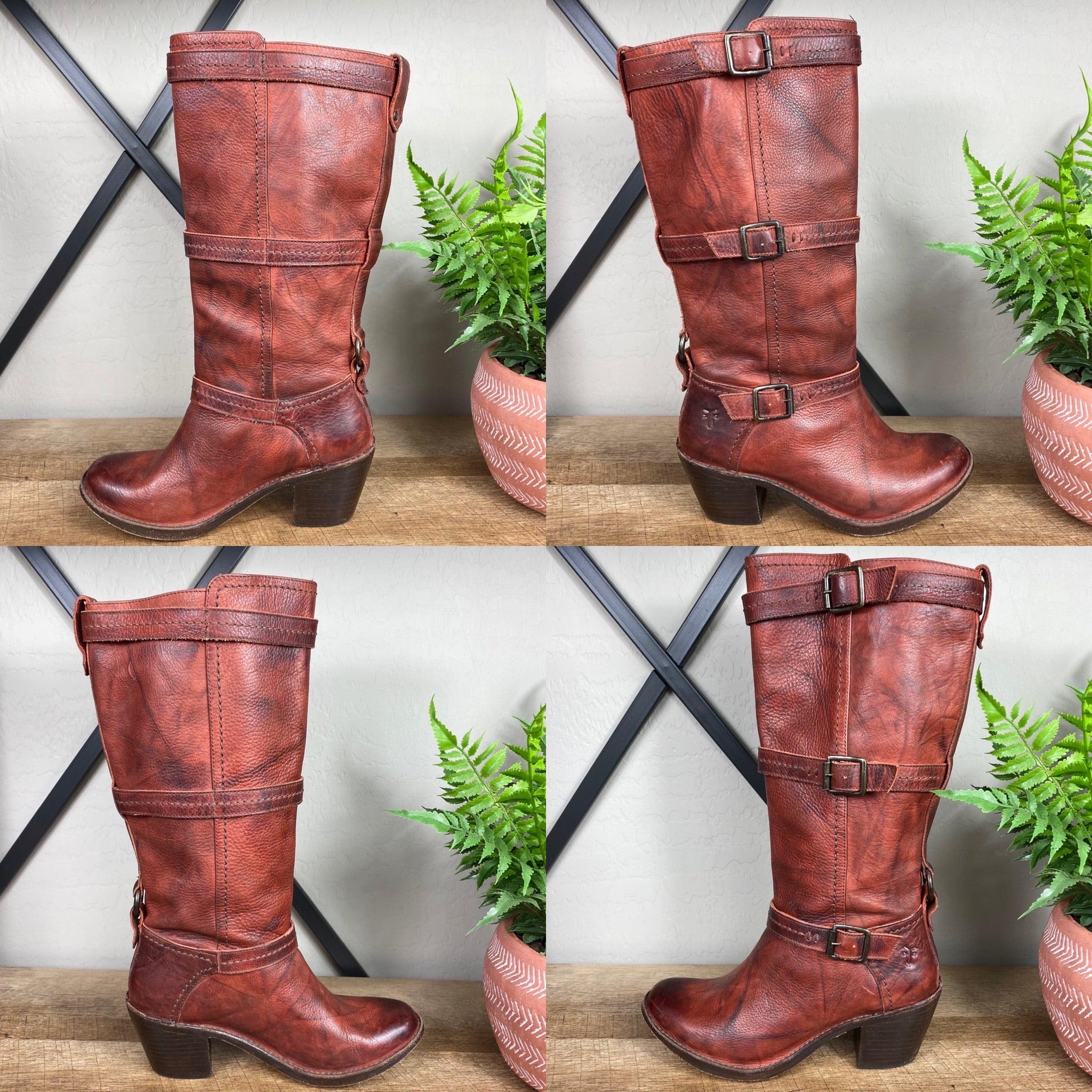 Frye Carmen 3 Strap Tall Leather Boots
