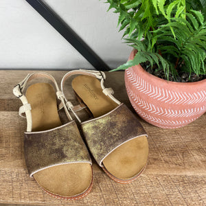 Sundance Italian Leather Metallic Sandals