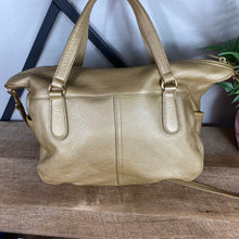 Load image into Gallery viewer, Ralph Lauren Gold Metallic Leather Satchel