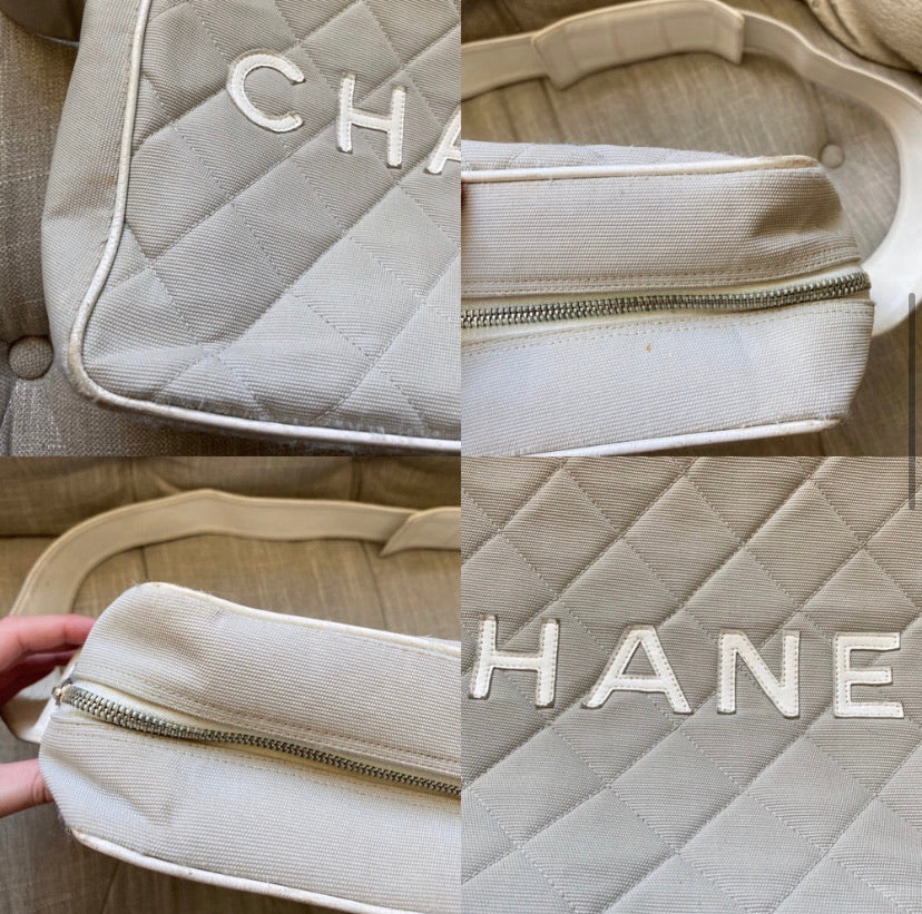 Chanel Quilted Canvas & Leather Monogram Bag
