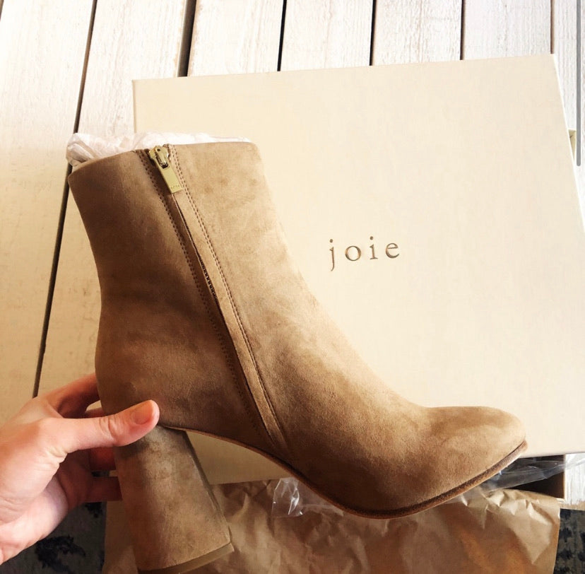Joie Lorring Suede Leather Block Heel Ankle Boot