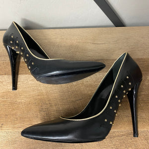 Yves Saint Laurent YSL Studded Stiletto Leather Heel