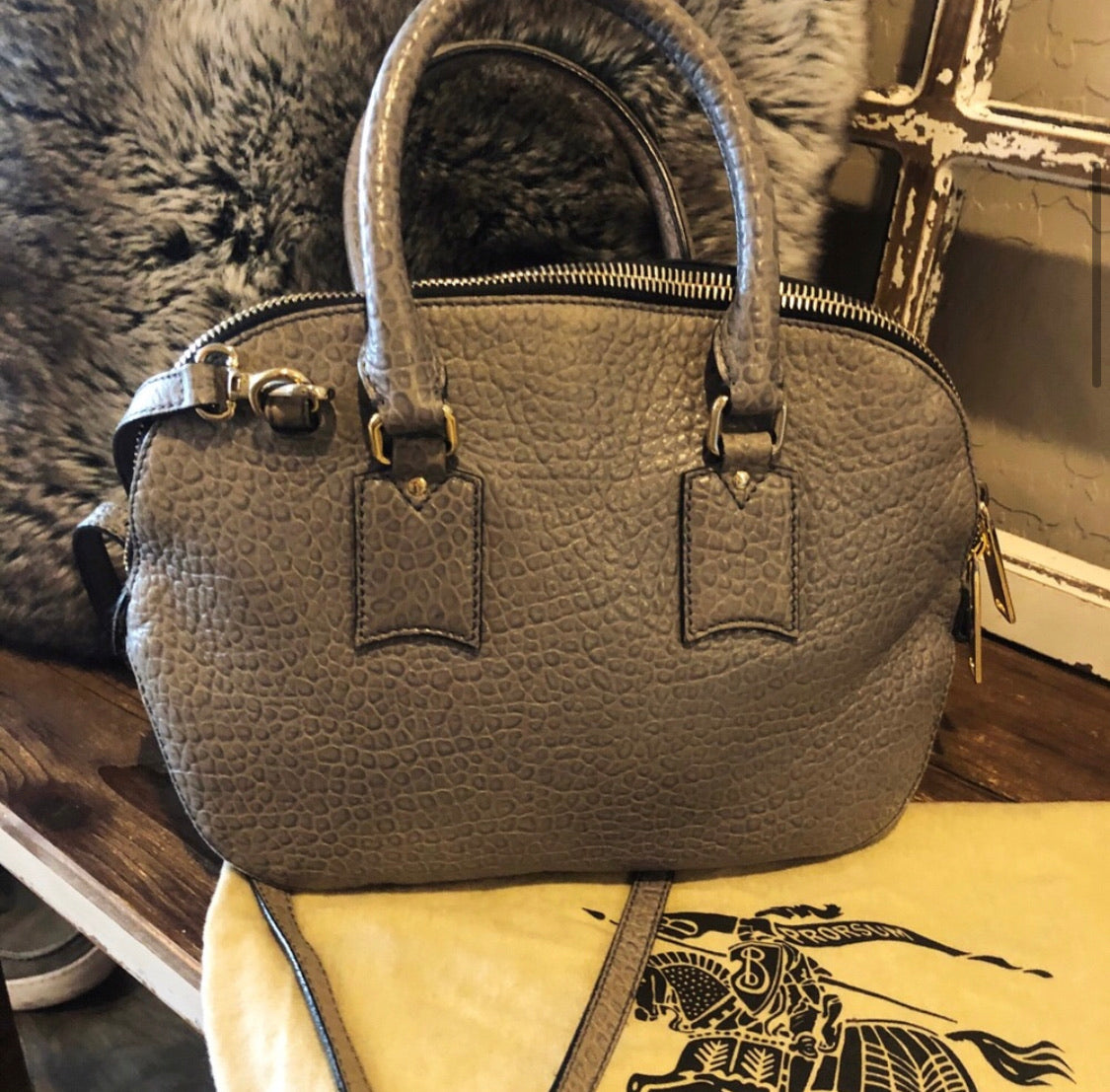 Burberry Orchard Pebbled Leather Heritage Bag
