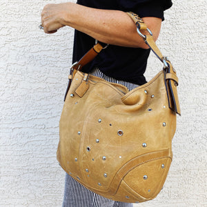 Coach Soho Tan Studded Nubuck Hobo Shoulder Bag