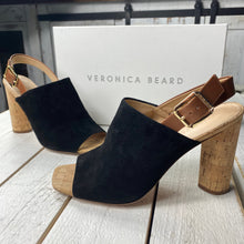 Load image into Gallery viewer, Veronica Beard Bodhi Suede Cork Peep Toe Heels