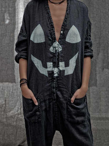 Halloween print casual cotton jumpsuit