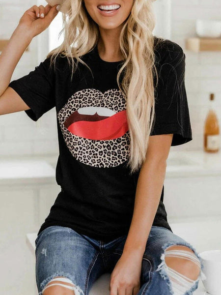 T-shirt short sleeves with flower tongue leopard lips