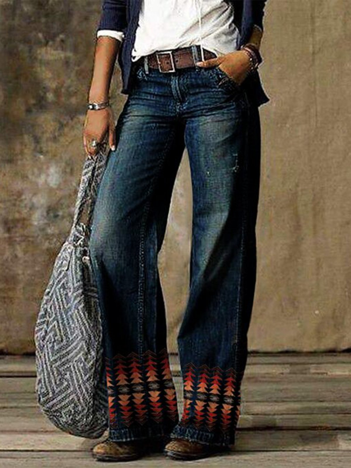 Vintage western tribal pocket women's jeans pants