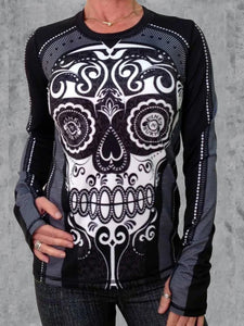 Abstract skull long sleeve top