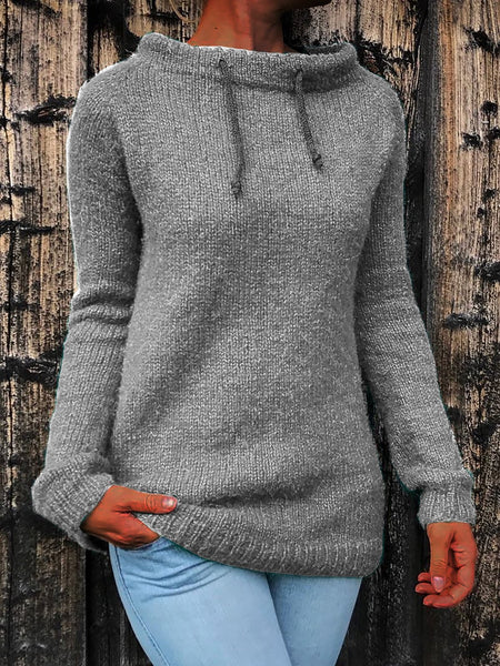 Knitted Long Sweater Boat Sleeve Neck