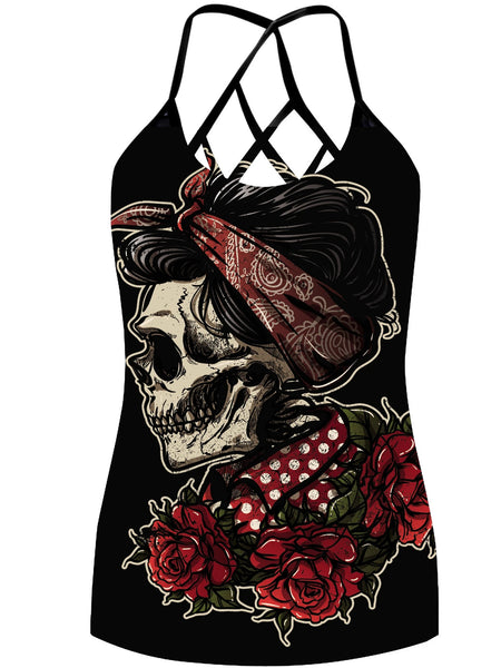 Skull And Rose Criss-Cross Open Back Camisole Tank Top