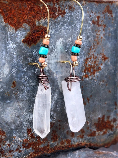 Natural stone crystal earrings hand-wound multicolor quartz stone pendant earrings