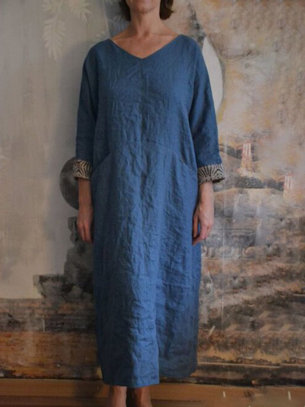 Log blue cotton and linen casual long skirt