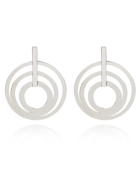 Personalized exaggerated long geometric concentric earrings
