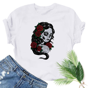 Casual Gothic Printed Short Sleeve T-shirt